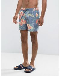 Hilfiger Denim - Tommy Swim Shorts Floral Print Packaway In Blue - Lyst