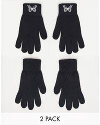 ASOS Confezione da 2 paia di guanti touchscreen - Nero