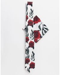 Twisted Tailor Комплект С Галстуком Белого Цвета С Красным Принтом -белый