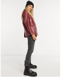 Muubaa Pocket Front Leather Shacket - Red