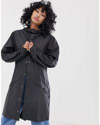 Rains - Черная Длинная Водонепроницаемая Куртка -черный - Lyst