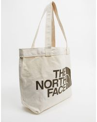 The North Face Tote bag en coton à gros logo - Naturel - Blanc