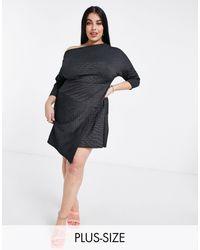 Closet London Plus - Черное Платье Мини С Запахом, Открытыми Плечами И Укороченными Рукавами -черный Цвет - Lyst