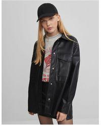 Bershka Faux Leather Overshirt Shacket - Black