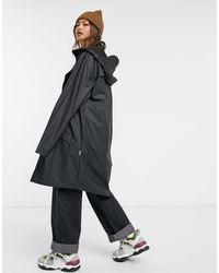 Rains Черная Длинная Водонепроницаемая Куртка -черный