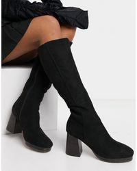 ASOS Clarity Platform Block Heeled Knee Boots - Black