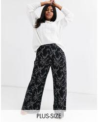 AX Paris Pantalon à imprimé feuilles - Noir
