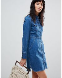 Free People Джинсовое Платье-рубашка -синий