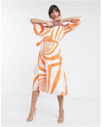 Traffic People Waisted Midi Dress - Orange