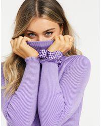 Stradivarius Ribbed High Neck Knit - Purple