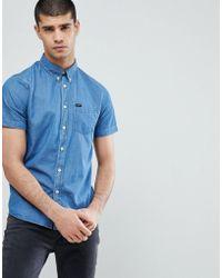 Lee Jeans - Button Down Short Sve Stripe Shirt - Lyst