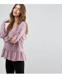 ASOS | Tie Detail Smock Top With V Neck | Lyst