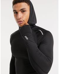 ASOS 4505 Icon Muscle Fit Running Long Sleeve T-shirt With Hood - Black