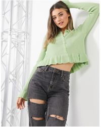 Daisy Street Knitted Top With Peplum Hem And Collar - Green