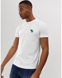 Abercrombie & Fitch Exploded Icon Logo Henley T-shirt In White
