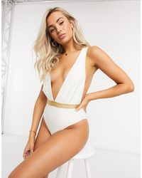 Chelsea Peers Recycled Swimsuit With Plunge Front - White