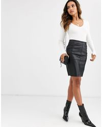 Vero Moda Faux Leather Skirt - Black