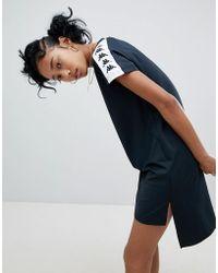 Kappa T-shirt Dress With Logo Taping And Stepped Hem - Black