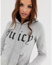Juicy Couture Felpa con cappuccio, zip e logo gotico - Grigio