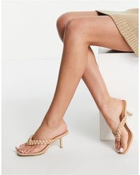 New Look Plaited Thong Mule - Natural