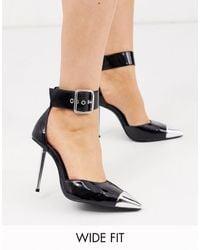 ASOS Wide Fit Pierce Stiletto Heels With Toe Cap - Black