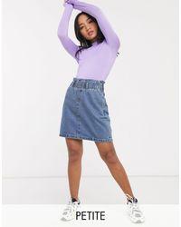 Noisy May Minigonna di jeans blu medio con vita raccolta con cintura