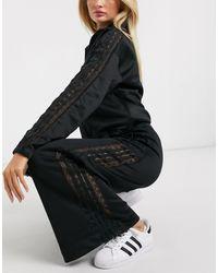 adidas Originals Bellista Lace Insert Wide Leg Trousers - Black