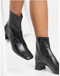 Mango Leather Mid Heel Boots - Black
