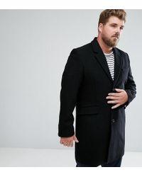 ASOS - Plus Wool Mix Overcoat In Black - Lyst