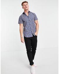SELECTED - Рубашка С Цветочным Принтом И Короткими Рукавами Dexter-голубой - Lyst