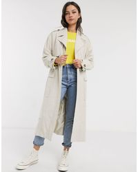 ASOS Luxe Oversized Linen Look Trench Coat - Multicolour