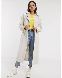 ASOS Luxe - Trench-coat oversize en imitation lin - Crème - Multicolore