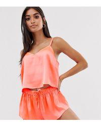 ASOS Exclusieve Pyjamashort Set Van Satijn - Oranje
