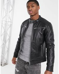 Esprit Leather Biker Jacket - Black