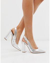 ASOS Penley Slingback High Block Heels - Metallic