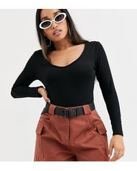 Boohoo Exclusive Basic V Neck Body With Long Sleeves In Black