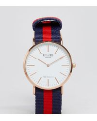 Reclaimed (vintage) - Inspired Canvas Stripe Watch In Navy/red Exclusive To Asos - Lyst