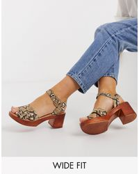 Simply Be Wide Fit Wood Platforms - Blue