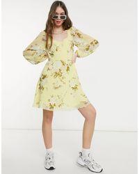 Warehouse Желтое Платье Мини С Принтом Роз Bonnie-желтый