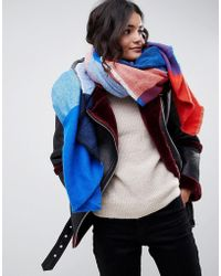 ASOS - Oversized Square Scarf In Blown Up Check In Blue And Red - Lyst