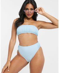 Missguided Pleated Bandeau Bikini Top - Blue