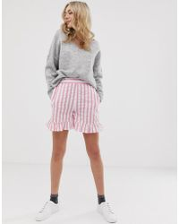 ASOS - Pink Stripe Shorts With Ruffle Hem - Lyst