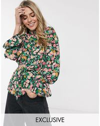 Reclaimed (vintage) Inspired Blouse With Tie Waist And Cuffs - Green