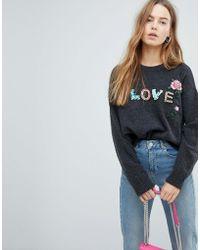 Bershka - Love Beaded Knitted Sweater - Lyst