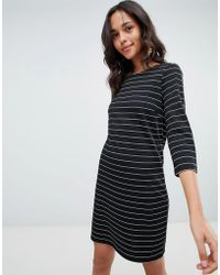 Vila - Striped Jersey Midi Dress - Lyst