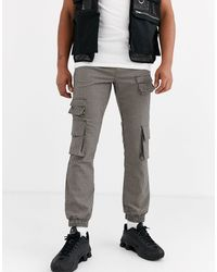 ASOS Check sweatpants With Cargo Pockets - Brown