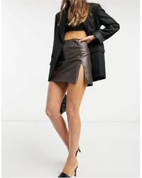 Motel Faux Leather Mini A-line Skirt - Brown