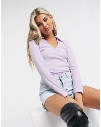 Another Reason Long Sleeve Polo Top With Open Collar - Purple