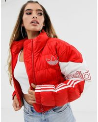 adidas Originals Cropped Puffer Jacket In Red
