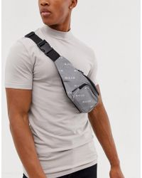 Nicce London Fanny Pack With Reflective Logo - Metallic